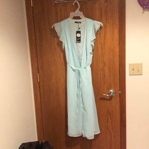 Mint V Neck Wrap Dress